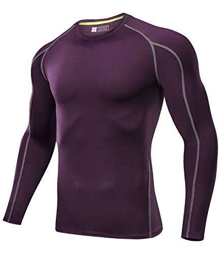 Outto Men's Running Shirts Quick Dry Compression Long Sleeve Base Layer(Purple,X-Large)