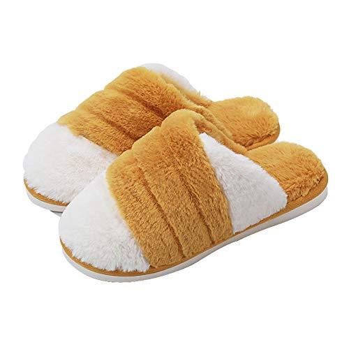 N/W Botas para Hombre, Pantuflas Antideslizantes de otoño e Invierno, Pantuflas cálidas de Fondo Plano para Parejas-Ginger_37-38 (35-37 pies)