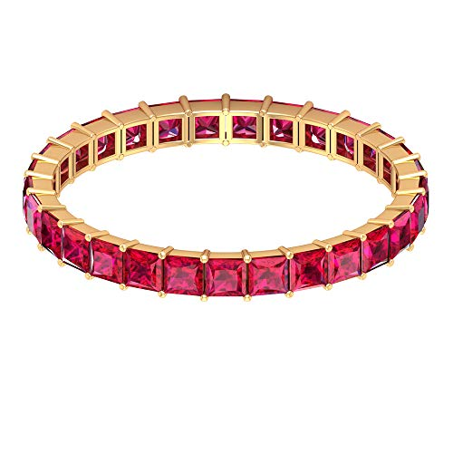 Anillo de boda para novia, 1 ct 2 mm, anillo de eternidad de rubí, anillo de corte princesa, anillo de piedra natal de julio, anillo de aniversario apilable, regalo para mujeres, 14K Oro