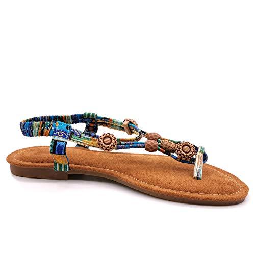 Angkorly - Damen Schuhe Sandalen Sandalen - Strand - Böhmen - Hippie - Hipster - elastisch - Perle - Aztekenmuster Blockabsatz 1.5 cm - Blau 2 S155 T 40