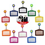 Wandefol 10pcs Soporte para Tarjetas de Identificación con Carrete Retráctil, Funda para Tarjetas Identificativas con Carrete para Tarjeta de Cretido Transporte Enfermera Cuero 10 Colores 102*80mm