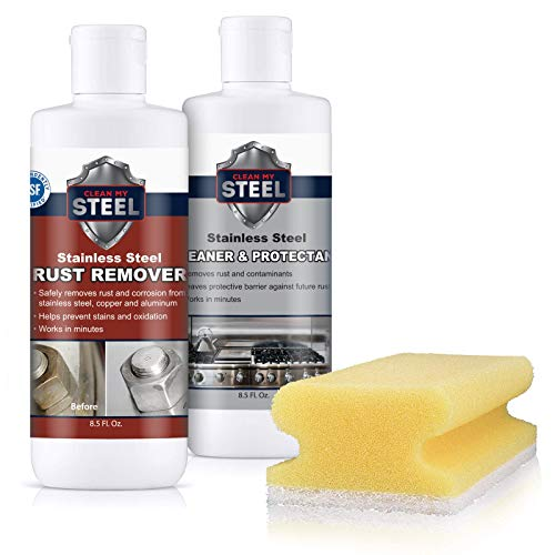 Clean My Steel Stainless Steel Cleaner, Rust Remover & Protector Kits w/Sponge