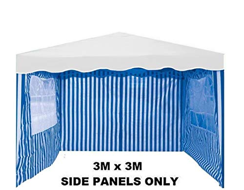Tooltime Pack of 3 Side Panels for 3m x 3m Garden Gazebo - Blue & White Stripe with Windows
