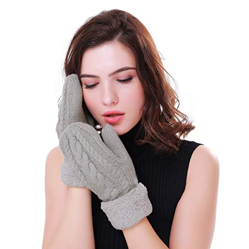 Women's Winter Gloves Warm Lining - Cozy Wool Knit Thick Gloves Mittens in 11 color (gray)