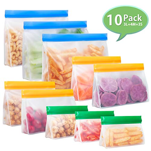 Godmorn Reusable Food Storage Bags Set of 10, Vertical Leakproof Ziplock Bags, BPA Free Sandwich Bags Lunch Bag for Fruits, Liquid, Snack, Freezer Airtight Seal and Travel (3L+ 4M + 3S)