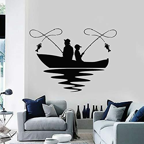 Tianpengyuanshuai Etiqueta de la Pared de Pesca Lago Barco Hobby Fish Club Vinilo Etiqueta de la Pared Dormitorio Sala de Estar decoración del hogar extraíble 75x102cm