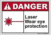 屋外装飾アルミニウムサインインチ、危険レーザー摩耗目の保護サイン、私有財産の警告サイン金属、屋外危険サイン