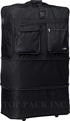 30″ Rolling Wheeled Duffle Bag Spinner Suitcase Luggage Expandable (30 Inch, Black)