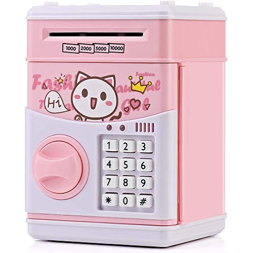 N / D Music Cartoon Electronic Password Piggy Bank Mini ATM Bank Security Lock Smart Voice Prompt Automatic Roll Banknotes and Coins Best Boy Girl Gifts Fun Toys Birthday Gifts (Pink Cat)