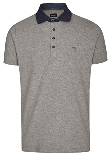Diesel Herren Serpico Denim Collar Polo Shirt, Grau, Large