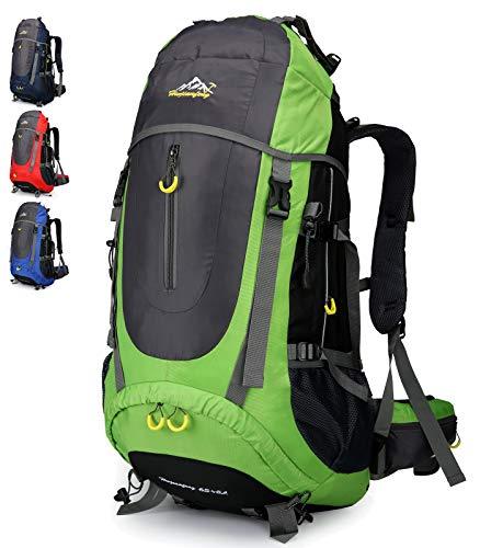 Doshwin Trekkingrucksack Campingrucksack Reiserucksack Wanderrucksack Großer Rucksack für Damen Herren - 70L (Grün)