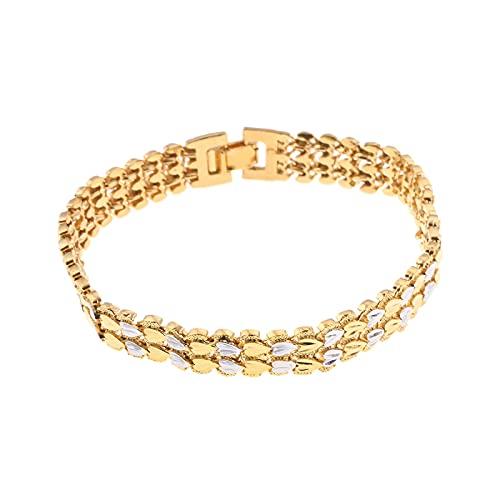 YITIANTIAN Pulsera de corazón de Moda a la Moda para Hombres y Mujeres, Pulsera de Color Dorado, Brazalete de eslabones, joyería de Lujo