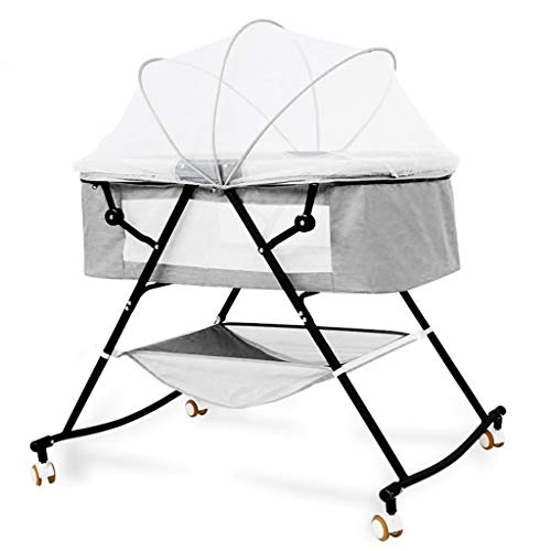 Best Buy! EBG Crib Newborn Folding Cradle Bed, Simple Portable Multi-Function Small Bb Bed, Baby Sle...