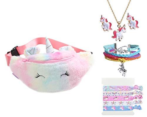 Fanovo Cute Fanny Pack Unicorn Waist Bag Plush Belt Bag Chest Bag Small Shoulder Bag (Fanny - Pink)