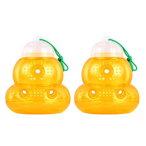 Wuhostam Plastic Wasp Trap for Hornet Bees Yellow Jackets, 2 Pack,Reusable Hanging Outdoor