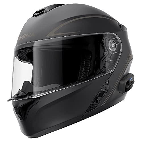 Casco de motocicleta modular Bluetooth con sistema de intercomunicación aprobado por DOT para bicicleta Cruiser Chopper ciclomotor (S)