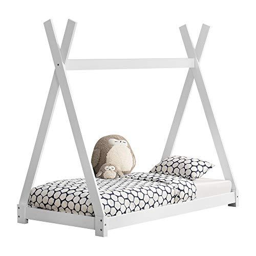 [en.casa] Cama para niños pequeños Cama Infantil 160 x 80cm Estructura Tipi de Madera Pino Blanco Mate