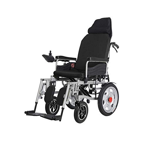 FTFTO Home Accessories Elderly Disabled Electric Powered Wheelchair Folding 360 deg Joystick Weight Capacity 120Kg Motorized Wheelchairs Manual and Electric Dual Use High Backrest Electric Wheelchair