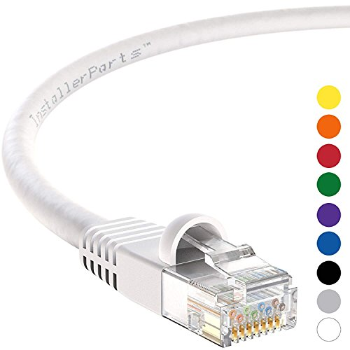 InstallerParts Ethernet Cable CAT6 Cable UTP Booted 8 FT - White - Professional Series - 10Gigabit/Sec Network/High Speed Internet Cable, 550MHZ