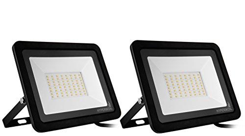 Hyperikon Outdoor LED Flood Light 50W (500-750 Watt Equiv) Rotatable Mount, 5000K, 110V, IP65, 2 Pack