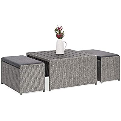 Best Choice Products 3-Piece Outdoor Modern Wicker Coffee Table Set for Patio, Porch w/ 2 Ottoman Benches - Gray