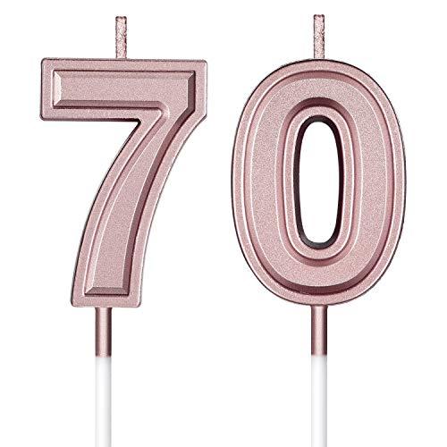 Velas de Cumpleaños 70 Velas de Numeros de Pastel Topper Decoración de Pastel de Feliz Cumpleaños para Cumpleaños Boda Aniversario Celebración, Oro Rosa