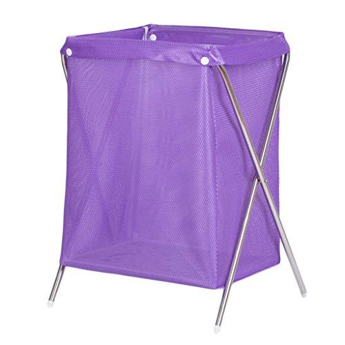 Paniers à linge Pliable Net Respirant Panier Sale vêtements Divers Panier de Rangement Pourpre, 37 * 33 * 53 cm (Color : Stainless Steel Pipe)