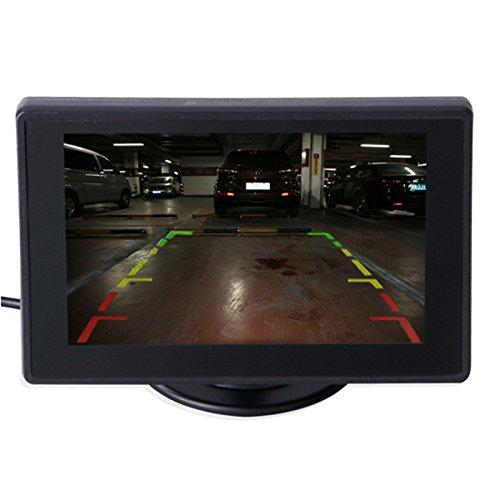 Youmine Monitor de Coche Ajustable de Pantalla TFT LCD de 4.3 Pulgadas para camaras de Copia de Seguridad de vehiculos Camara CCTV de Seguridad y DVR de Coche