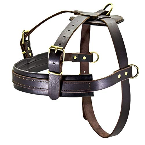 JINAN Weiches Leder Big Hundegeschirr Medium Large Hunde Pitbull justierbarer Haustier Harness Vest Bulldog Husky Rottweiler Geschirre (Color : Brown, Size : 2XL)