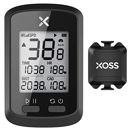 XOSS G+ GPS Bike Computer ANT+ with Smart Cadence Sensor, Bluetooth Cycling Computer, Wireless Bicycle Speedometer Odometer, Waterproof MTB Tracker Fits All Bikes (Support XOSS Heart Rate Monitor)