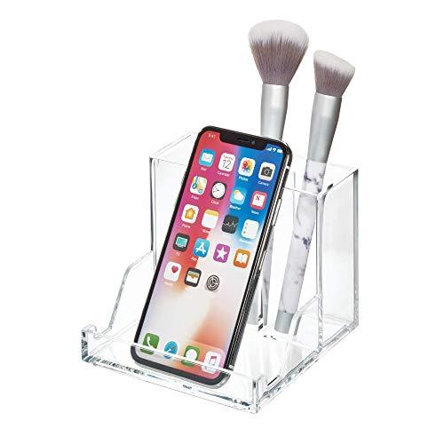 iDesign cosmetica-organizer voor de wastafel, opberging met meerdere vakken van kunststof, badplank voor kwasten, oogschaduw, lippenstift, enz, doorzichtig