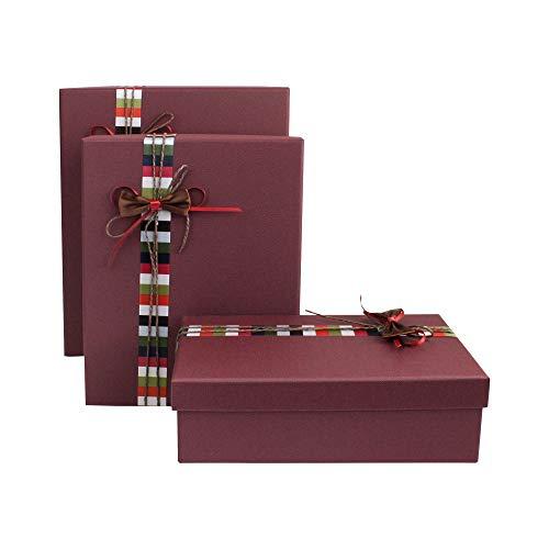 Emartbuy Set von 3 Starre Luxus Rechteckige Präsentations-Geschenkbox, Strukturierter Burgunder Box mit Deckel, Innenseite Bedruckt und Mehrfarbiges Gestreiftes Dekoratives Band