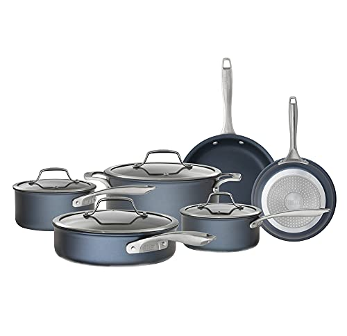 Bialetti Nonstick Hard Anodized Cookware Induction Compatible, Dishwasher Safe, Sapphire 10-Piece...