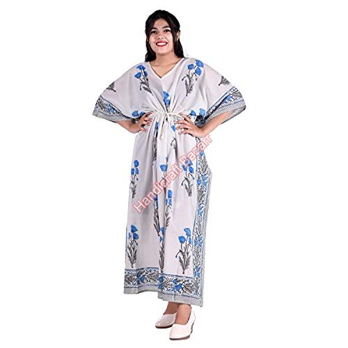 Handicraft Bazarr Vestido tipo túnica de natación, vestido de noche, holgado, para mujer, de algodón, con estampado a mano, para verano, cómodo vestido de media manga