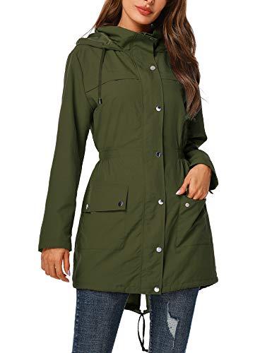 Uuang Regenmantel für Damen, wasserdicht, lange Ärmel, sportlich, tragbar, schnelltrocknend, winddicht, mit Kapuze, Grün 42