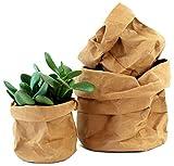 Set 3 cestas de papel kraft ecológicas - maceteros decorativos de interior, macetas y cubremacetas - almacenaje, decoracion hogar y tiestos plantas