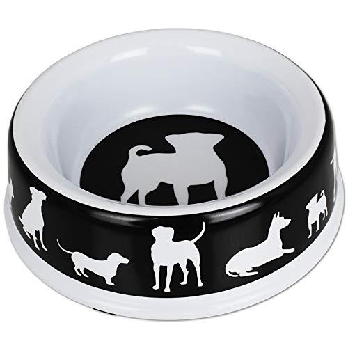 TW24 Hundenapf Melamin1500ml mit Farbwahl Hundefutternapf Kunststoff Futternapf Hund Rutschfest Fressnapf (schwarz)