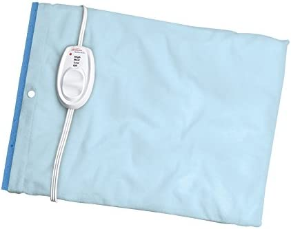 Sunbeam Heating Pad for Pain Relief, Standard Size UltraHeat, 3 Heat Settings with Moist Heat, Light Blue, 12-Inch x 15-Inch