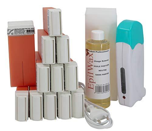 EpilWax - Kit d'Épilation Solo Complet : 1 Chauffe cire professionnelle, 12 Roll-On de cire epilation l'Argan de 100 ml, 100 Bandes epilation, 1 Huile après epilation 250 ml (série solo Argan 12)