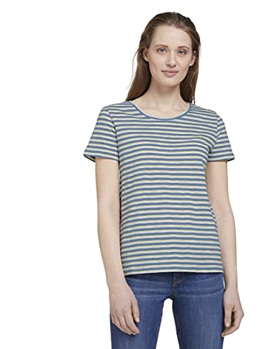 TOM TAILOR Denim Damen 1024817 Print T-Shirt, 26432-Blue Creme Yellow Stripe, L