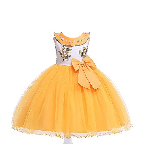 Romon Vestido de Malla Bordado con Solapa para niñas Vestido de Perlas con Cuello de muñeca para niños (3~8 años)