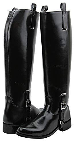 Hispar Women Ladies Dignity Dress Dressage Horse Riding Boots Stylish Fashion Equestrian Pull On - Black 8 Slim Calf