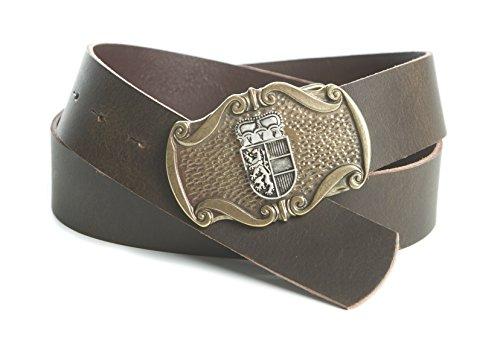 Enzianblau Enzianblau Echtleder Gürtel; Trachtengürtel; Österreich Emblem Salzburg; braun; weiches Leder (95)