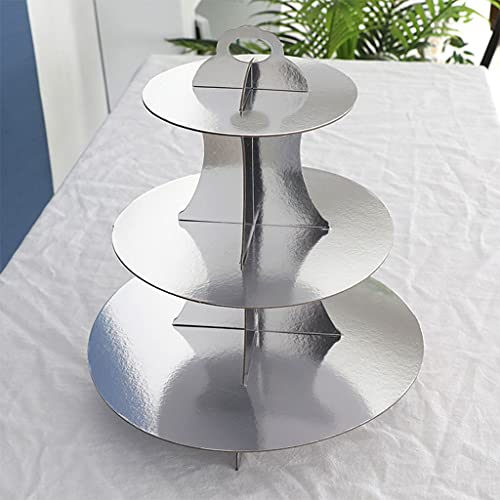 ITCUTE Round Paper Three-Layer Cake Stand Holder Dessert Table Tray Cupcake Display Rack Bakeware Birthday Wedding Party Decoration Household Tableware Kitchen Bar Supplies