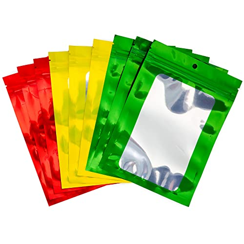 """120 Pack Resealable Smell Proof Mylar Bags, Clear Front Window - 3""""X4"""", Red, Sunshine & Green"""