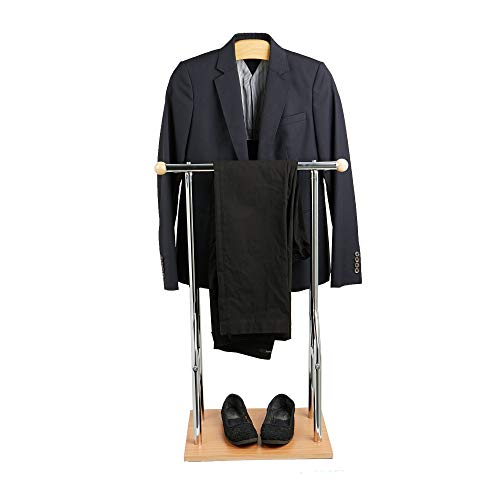 Mind Reader Wood Valet Suit Rack Stand