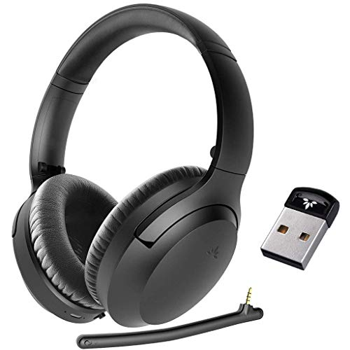Avantree Aria & DG40S, Bundle: Bluetooth USB Adapter Dongle & Bluetooth 5.0 Headset with Mic for Computer, PC, Active Noise Cancelling Headphones with Boom Micr, 35H, Home, Office, Online Class, Skype