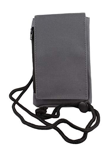 Handytasche Umhängetasche mit Klettverschluss und Reißverschluss Reisegeldbeutel Brustbeutel in graphitegrey