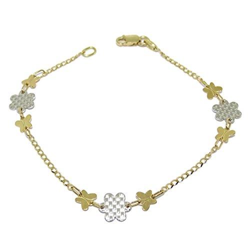Never Say Never Pulsera de Oro Blanco y Oro Amarillo de 18k con Motivo Mariposas y Flores. 18.00cm