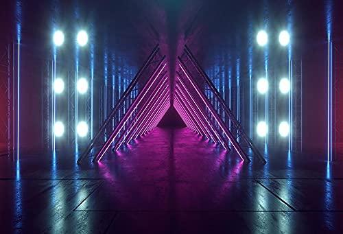 Fotografía de iluminación de Fondo Musical Hall Club Neon Light Stage Cumpleaños Baby Shower Photo Studio Telón de Fondo A7 10x7ft / 3x2.2m